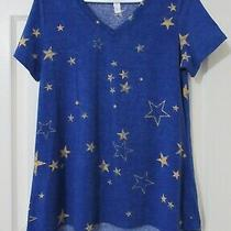 New Lularoe Christy T Tee Stars S Small Blue Yellow/ Gold Star Rare  Photo