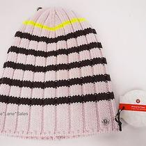 New Lululemon Blissed Out Toque Hat Merino Wool Neutral Blush Pink Deep Coal Nwt Photo