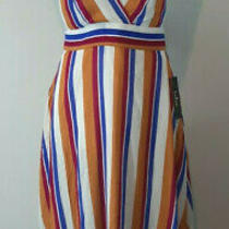 New Lulus Halter Dress Small Midi Pink Blue Yellow Striped Lined My Passions Photo