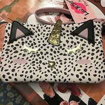 New Luv Betsey Johnso Double Pouch Wristlet White Cat Lbpouch 48 Photo