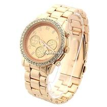 New Luxury Sport Stainless Steel Rhinestone Quartz Clock Mens Boy Wrist Watch Photo