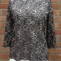 New m&s Ladies Black Lace Top Blush Undertop 3/4 Sleeve Size 12 Photo