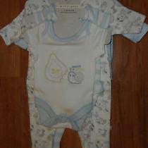 New m&s Petite Bebe Baby Boy Newborn 7 Piece Set Baby Safe Toes Blue Cotton Photo