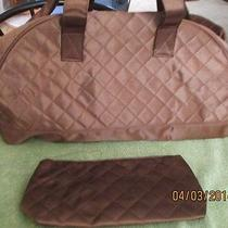 New Macy's Ff Brown Quilted Satin Duffle & Cosmetic Bag Travel Bag Fendi Photo
