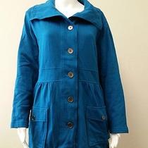 New Macys style&co Womens Teal Button Down Jacket Coat Size L Nwt Photo