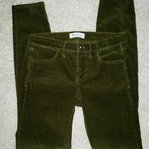 New Madewell Olive Army Green Skinny Corduroy Jeans Pants 27