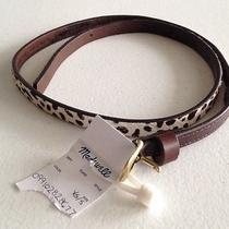 New Madewell  Skinny Leopard Spot Belt  Calf Hair 45 New Xs S Extra Small Photo