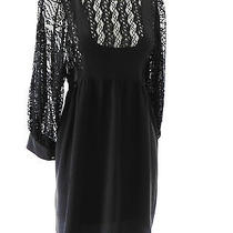 New Madison Marcus Summer Dress Baby Doll Style Size S 3/4 Sleeve Black Photo