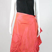 New Magaschoni Watermelon Pleated Tie Wrap Skirt   Sz 8 388 Photo