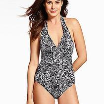 New Magicsuit Sz 16 46 Miraclesuit Addison Swimsuit White Black Halter Tie Photo