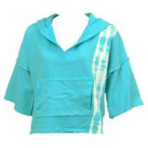New Malibu Society Terry Tie Die Hoodie Womens Sweatshirts Aqua Blue Size Xs Photo