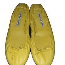 New Manolo Blahnik Bright Yellow Leather Tobaly Ballet Flats Size 6.5/36.5 Photo