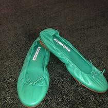 New Manolo Blahnik Green Leather Tobaly Ballet Flats Size 6.5/36.5 Photo