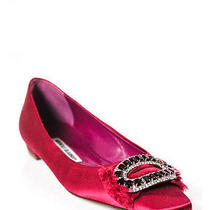 New Manolo Blahnik Red Satin Square Toe Jeweled Flats Sz 37 7 Photo
