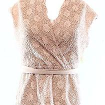 New Marina Pink Blush Womens Size Small S Floral-Crochet Laced Blouse 69- 012 Photo