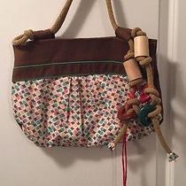 New Marni Canvas Art Unique Rare Multi Color Rope Drawstring Wood Block Handbag Photo
