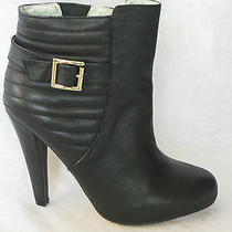 New Matiko Black Leather Quilted Pull on High Heel Buckle Elastic Ankle Boots 6m Photo