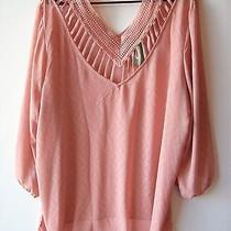 New Maurices Blush Pink Crochet Peasant Blouse Top Shirt Tunic Plus Size 3 3x  Photo