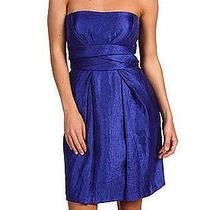 New Max & Cleo Sapphire Blue Crushed Taffeta Strapless Pleated Empire Dress 6 Photo