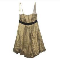 New Max & Cleo Women Bubble Hem Spaghetti Dress Size 8 Gold Wedding Guest Party Photo