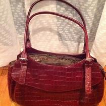 New Maxx New York Burgundy/ Wine Leather Croc Embossed Purse Photo