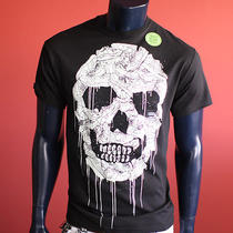 New Men Black Cartoon Glow Scary Skulls Express Tapes Surfer Music T Shirt M Photo