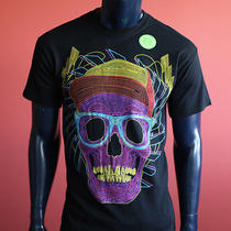 New Men Black Cartoon Glow Skulls Express Tapes Surfer Music Dollars T Shirt M Photo