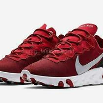 New Men Nike React Element 55 Shoes Sneakers Bq6166-601 Gym Red White Size 11 Photo