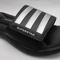 New Men's Adidas Size 10 Superstar 3g Slide Sandal G40165- Black/silver Photo