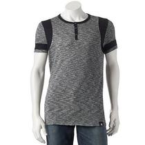 New Mens Authentic Rock & Republic Colorblock Henley T Shirt Black Cotton Xl Photo