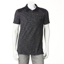 New Mens Authentic Rock & Republic Space Dyed Polo Shirt Black Sze L Nwt  Photo