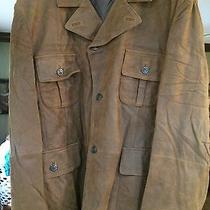 New Men's Barbour Leather Outdoor Jacket - Brown Xl Photo