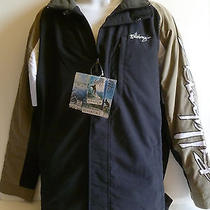 New Men's Billabong Jacket Black Water Resistant Tan White Photo