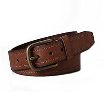 New Men's Fossil Baldwin Brown Leather Belt With Antique Brass Buckle Size 36 Photo