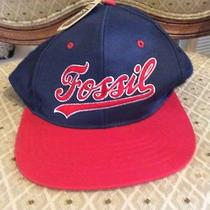 New Men's Fossil Watch Brand Navy & Red Baseball Style Cap Hat Os Nwt Photo