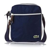 New Men's Lacoste Premium Vertical Camera Canvas Bag Blue Photo