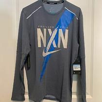 New Mens Nike Element Nxn Running Ls Shirt Blue/gray  Cq7842-473 Medium Photo