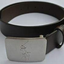 New Men's Polo Ralph Lauren Brown Big Pony Plaque Leather Belt Size 34 Photo