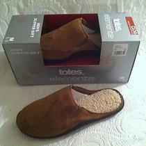 New Men's Totes Elements Slipper Gift Brown Clog Bedroom Shoe Slip on 8 9 Medium Photo