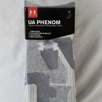 New Men's Ua Phenom Crew Sock 3 Packs Elemental Gray Assortment Photo