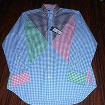 New Men's Vineyard Vines Harbor Lights Whale Checkered Button Up Shirt Med Nwt Photo