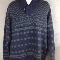 New Men's Vineyard Vines Sweater Blue Green 100% Merino Wool Xl Split Collar Photo