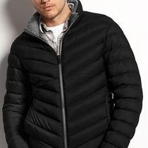 New Mens Authentic Guess Black Packable Down Jacket Coat Small Photo