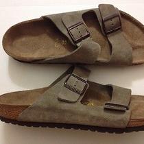 New Mens Birkenstock Arizona Tan Suede Leather Cork Dual Strap Sandals Sz 11 Photo