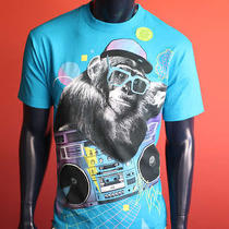 New Mens Blue Cartoon Glow Monkey Express Tapes Surfer Music Dollars T Shirt S Photo