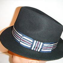 New Mens Christys of London Fur Felt Fedora Hat Black Furfelt Size 6 7/8 Photo