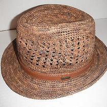 New Mens Christys of London Raffia Straw Fedora Hat Medium Photo