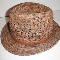 New Mens Christys of London Raffia Straw Fedora Hat Medium Photo