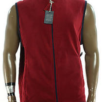 New Mens  Club Room Classic  Fleece Dark Red  Full Zip Sweater Jacket Vest Xl  Photo