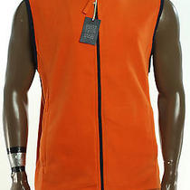 New Mens  Club Room Classic  Fleece Orange Full Zip Sweater Jacket Vest Xl  Photo